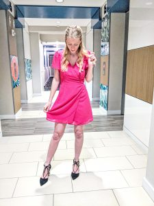 Pink heart wrap dress for Valentine's Day