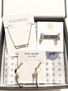 Rocksbox Gorjanna Kate Spade Heart earrings and necklace