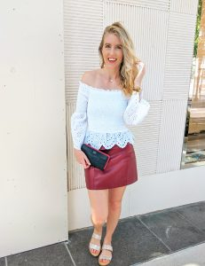 off shoulder eyelet top leather skirt