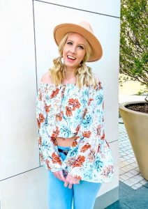 womens floral off shoulder top