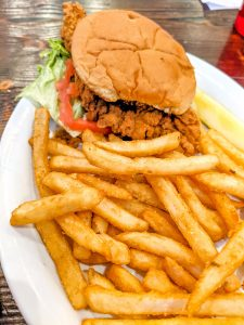 Angry tuna PCB chicken sandwich and fries