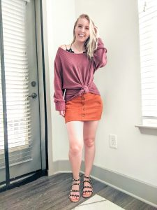 suede skirt with waffle knit and studded sandals