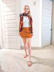 suede skirt with white tank and fall scarf